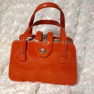 Vintage Orange 3-compartment patent leather purse